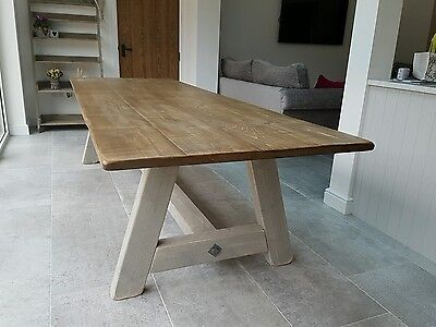 Vintage Style Rustic Wood Hand Made Dining Table