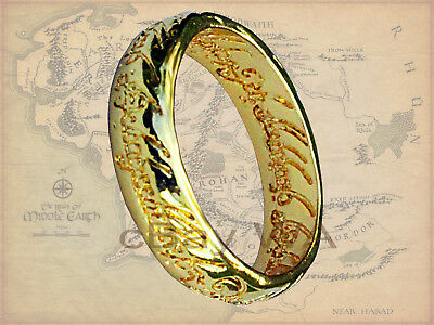 LOTR Hobbit The One Ring 18 Kt Gold GP Replica Engraved Lord Rings BNOC
