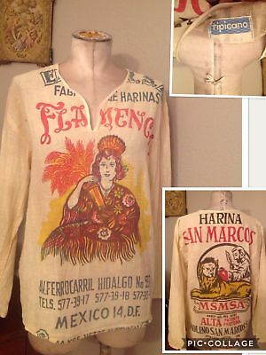 Vintage FEED SACK cotton blouse S