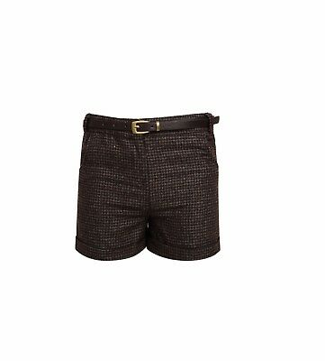 Girls Brown Silver Gold Indie Crush Tweed Shorts with Belt 3 - 12 Years
