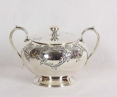 Harrison Bros. & Howson Alpha Silverplate Covered Sugar #526 Repousse Sheffield