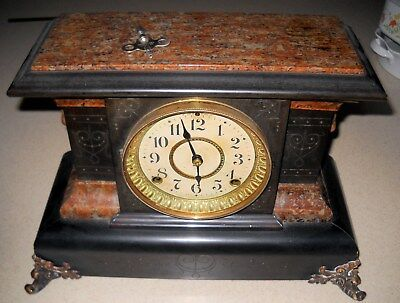 Seth Thomas Mantle Clock Art Noveau Adamantine 8-day w key mfg. Aug 1896