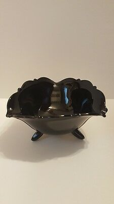 Black Amethyst Depression Glass - L. E.  Smith Co.  Footed Mayonnaise Bowl