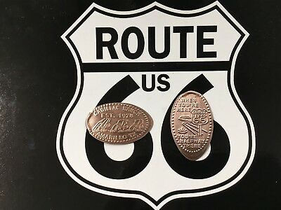 ROUTE 66, Cadillac Ranch coin, Halfway Rt 66 coin  Elongated Penny Smashed