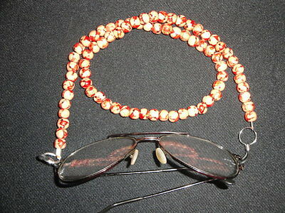 "Unique handmade 24"" red brown printed wood lanyard for sunglasses spectacles"