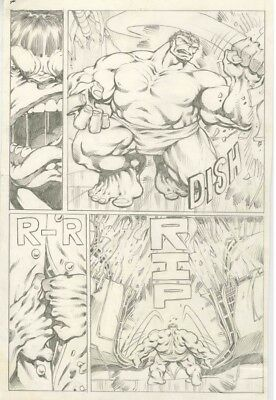 Dale Keown - Official Marvel Try Out Hulk Pages - Lot Of 5