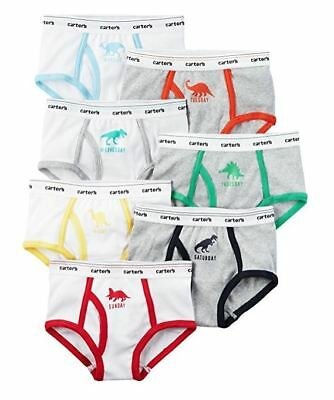 Carter's Little Boys 7 Pack Tag-Free Briefs, Days of the Week Dinosaurs, Sz 2-3T