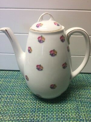 """Hutschenreuther Selb L.H.S. Roses Teapot With Gold Trim 8"""" Tall."""