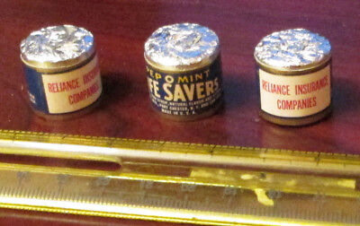3 Old Pkg Sample Adv Life Savers Pep O Mint Reliance Insurance Co Candy  Lot