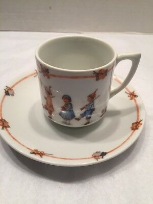 Late 1800's Childs Porcelian China Cup Saucer Children W/toys Marching