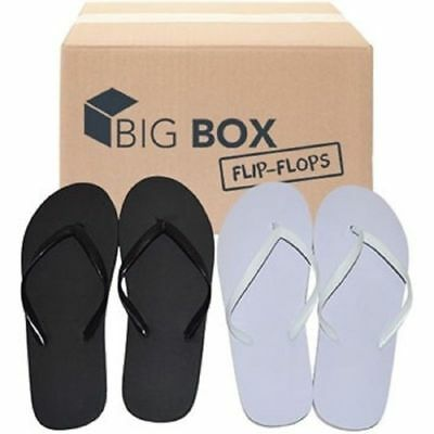 Women's Flip Flops, Wholesale lot of 96 pairs, Black and White, Assorted Sizes