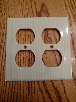 Vintage Leviton Bakelite Ribbed DOUBLE Electrical Outlet Plate Wall Cover Ivory