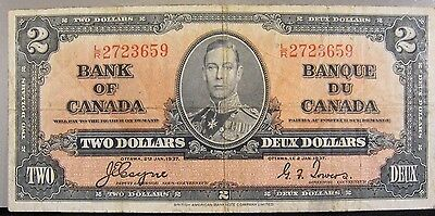 1937 Bank of Canada Two Dollar Circulated Note   ** FREE U.S SHIPPING **