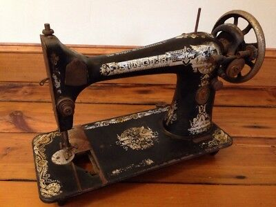1915 Antique Vtg Egyptian Distressed Singer Sewing Machine Metal Nonfunctional