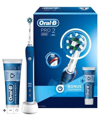 Oral B PRO 2 2500 Rechargeable Electric Toothbrush BLUE - NEW