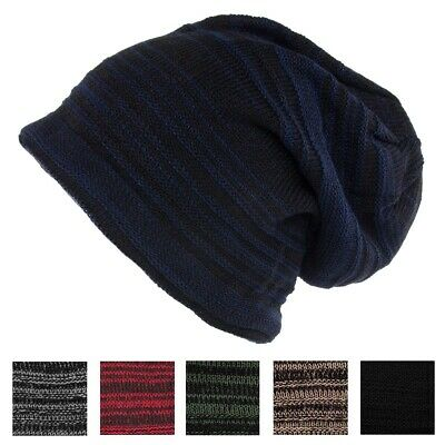 0083322b Men's Striped Ribbed Slouchy Knit Beanie Winter Hat Warm Work Cap Soft  Toboggan