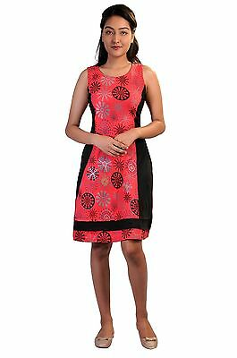 Women'S Summer Sleeveless Dress With Flower Pattern Print And Embroidery