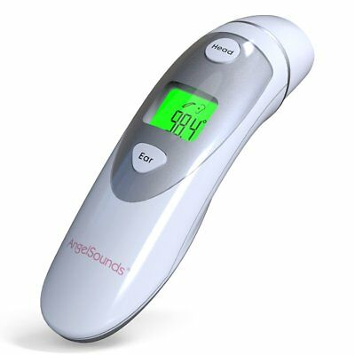 Digital Ear Forehead Thermometer with Infrared Accurate Instand Read (Silver)
