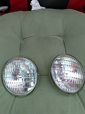 """2 SEALED BEAM TRACTOR HEADLIGHTS AUTO BULB LIGHTS 35w 12v 4.5"""" REPLACES GE 4411"""