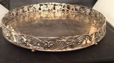 """Silver Plated Tray, Liquer ?, Grape &  Leaf Border, Round 13 3/4"""" Tray"""