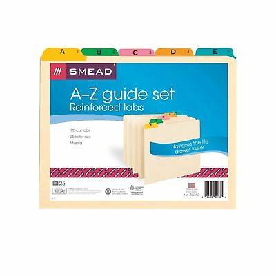 Smead 50180 Recycled Top Tab File Guides Alpha 1/5 Tab Manila Letter (... NO TAX