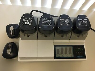 Stryker System 4 Four Station Battery Charger 4110-120 + 6 Free Batteries