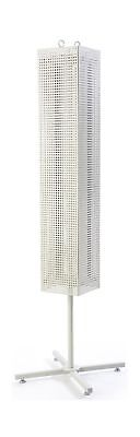 "Displays2go 68"" Floor Pegboard Spinner Rack Magnetic (MD4PFSWH) White NO TAX"