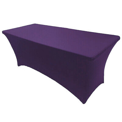 8' ft. Spandex Fitted Stretch Tablecloth Table Cover Wedding Banquet Purple