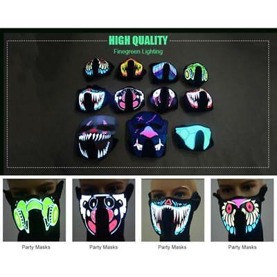 AU LED Light Face Mask Flashing Luminous Outdoor Cycling Party Cosplay Costume