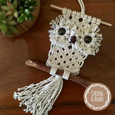 OWL MACRAME KIT * Gift Idea/Weave/Wall Decor/Rope/Cord/Boho/Retro/DIY/Craft/Art