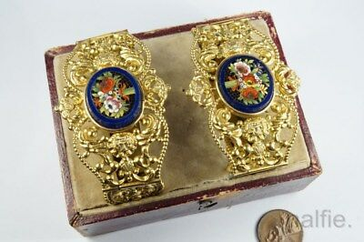 BEAUTIFUL PAIR of ANTIQUE PINCHBECK FLORAL MICRO MOSAIC BRACELETS c1820