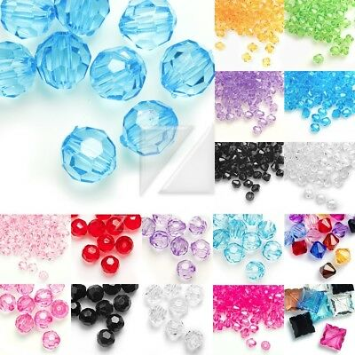 Acrylic Transparent Bicone Beads Faceted 4/8/10/12mm IW