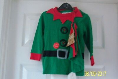 "Baby Boys Xmas Elf Top + Hat 12 - 18 Months Green Red ""jingle Bells"" Next Bnwt"