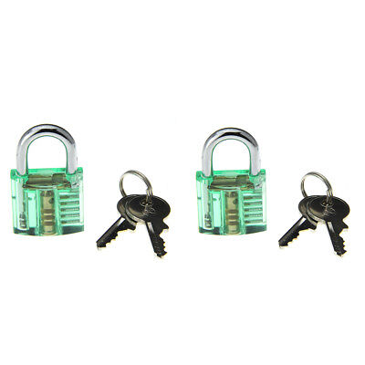 Transparent Green  Inside-View Pick Skill Training Practice Padlock Lock(2PCS)