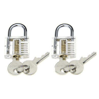 2*ABS+ stainless steel Transparent Pick Skill Training Practice Padlock Lock Set