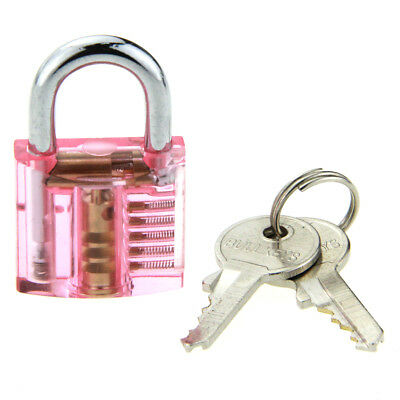 Red ABS + stainless steel Mini One Slotted Transparent Pratice Padlock W/2 keys
