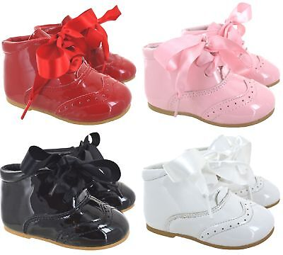 Kids Baby Infants Girls Wedding Party Spanish Ribbon Lace Bow Shoes Boots Sz 1-8