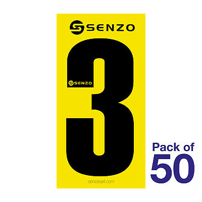 3 Number Pack of 50 Black on Yellow Senzo