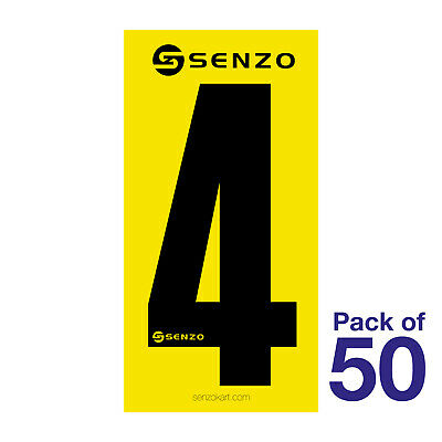 4 Number Pack of 50 Black on Yellow Senzo