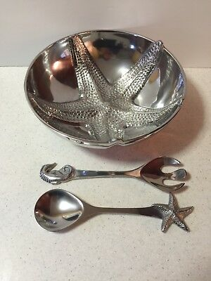 Mariposa Aluminum Large Salad Bowl + Server Serving Starfish Seahorse Set 1994