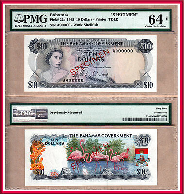 NO RESERVE PRICE AUCTION: 1965 Bahamas Gov't $10 QE2 Specimen PMG CHOICE UNC64