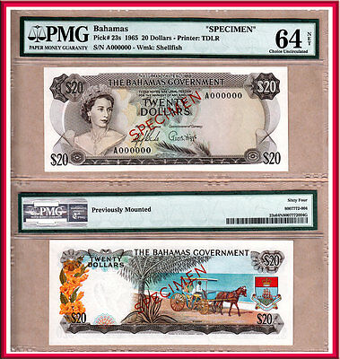 NO RESERVE PRICE AUCTION: 1965 Bahamas Gov't $20 QE2 Specimen PMG CHOICE UNC64