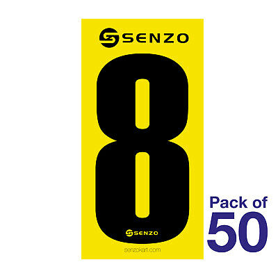 8 Number Pack of 50 Black on Yellow Senzo