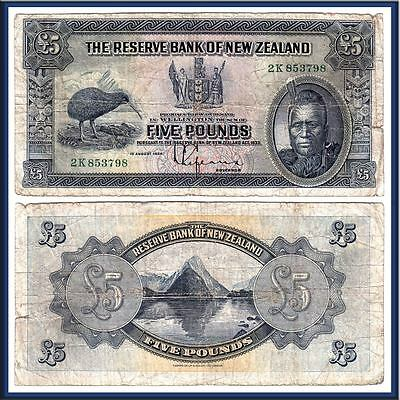 NO RESERVE AUCTION: 1934 £5 Maori Chief; The Reserve Bank of New Zealand. P-156