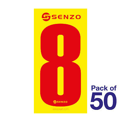 8 Number Pack of 50 Red on Yellow Senzo