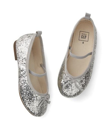 2db716629a89 Baby Gap Toddler Girl Silver Glitter Mary Jane Shoes Size 10 Ballet Flats  HBV4