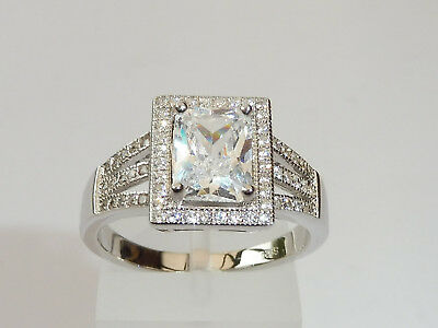 Ladies Art Deco Style 925 Sterling Fine Silver 2 Carat White Sapphire Dress Ring