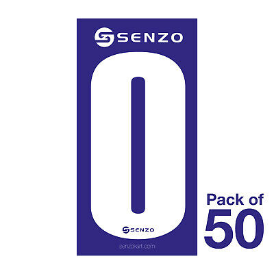 0 Number Pack of 50 White on Blue Senzo