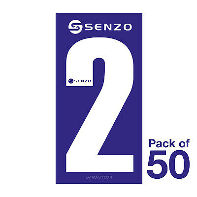 2 Number Pack of 50 White on Blue Senzo