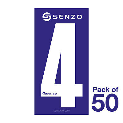 4 Number Pack of 50 White on Blue Senzo
